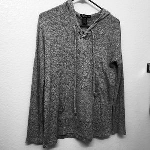 Miss Chevious Grey Sweater Tie Up Blouse